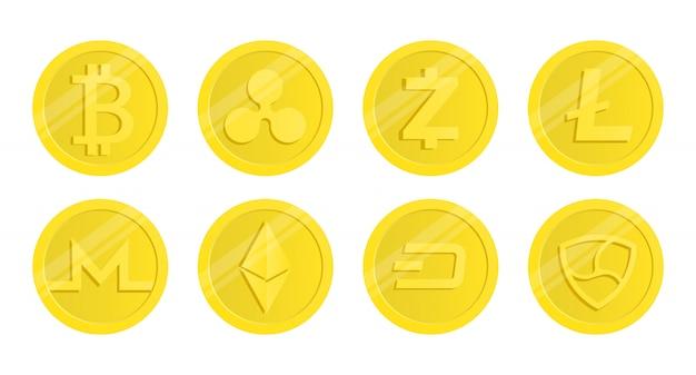 暗号通貨のセット。人気のある暗号通貨。
