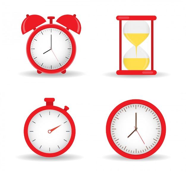 時計のセット。目覚まし時計、砂時計、壁時計、ストップウォッチ。