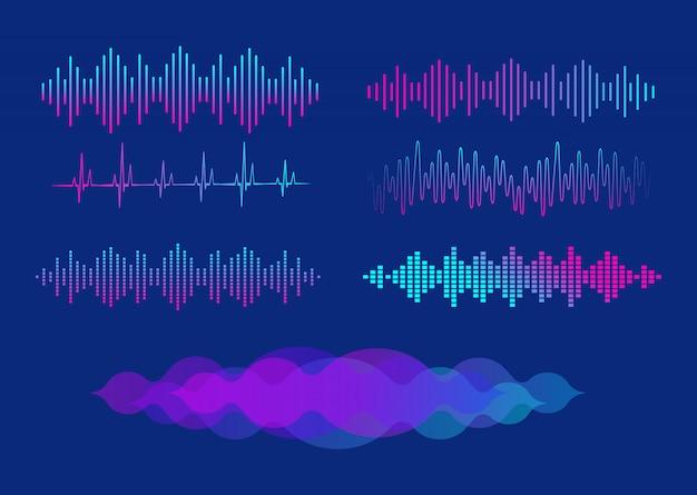 Набор эквалайзеров. эквалайзер для музыкального плеера. иллюстрации.