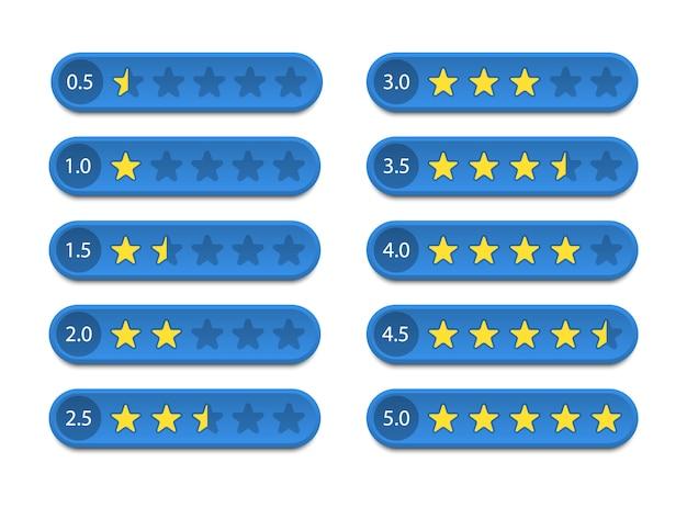 星の評価。フィードバックと顧客レビュー。図。
