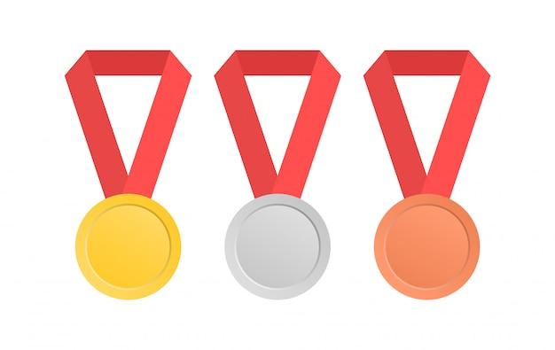 Коллекция медалей с красной лентой в плоском стиле. золотая, серебряная и бронзовая медаль.