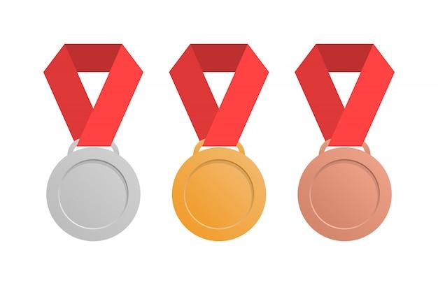 Набор медалей в плоском стиле. серебряные, золотые и бронзовые медали.