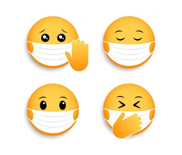 医療マスクの絵文字。コロナウイルスのアイコン。ソーシャルメディアチャットのスマイリー。