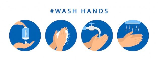 Как мыть руки. шаг инструкция по мытью рук. предупредительные меры. плоский дизайн.