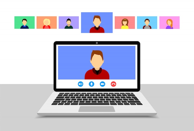 Видеоконференция на ноутбуке. онлайн встреча. групповой видеозвонок. плоский стиль