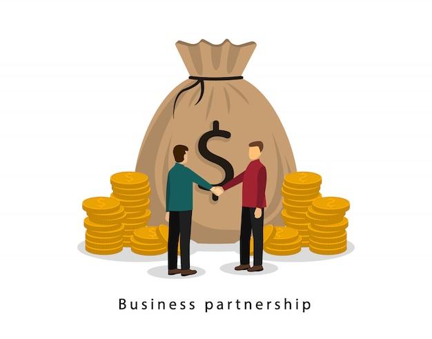 Деловые партнеры пожимают друг другу руки. денежная операция. деловой контракт. денежный мешок с большим количеством монет.