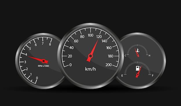 車の速度計のダッシュボード。