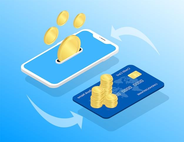 モバイル決済。カードに転送します。