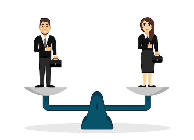 Мужчина и женщина на весах. гендерное равенство. иллюстрации.