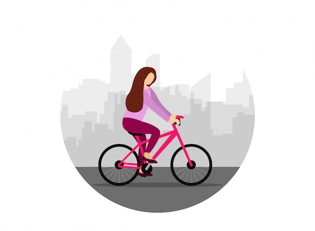 Девушка катается на велосипеде по городу. женщина на велосипеде. плоский стиль иллюстрации.