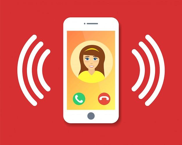 Плоский мультфильм мобильный телефонный звонок с контактной информацией на дисплее, значок кольца телефона.