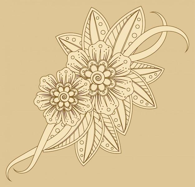 エスニックオリエンタル、インド風の一時的な刺青の花の装飾。落書き飾り。概要手描きイラスト。
