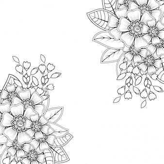 エスニックオリエンタル、インド風の一時的な刺青の花の装飾。落書き飾り。概要手描きイラスト