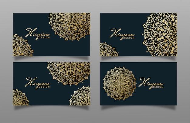 Роскошный дизайн визитной карточки с дизайном мандалы.