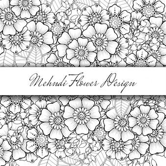 Контур квадратный цветочный узор в стиле менди. каракули орнамент в черно-белом. рука рисовать иллюстрации