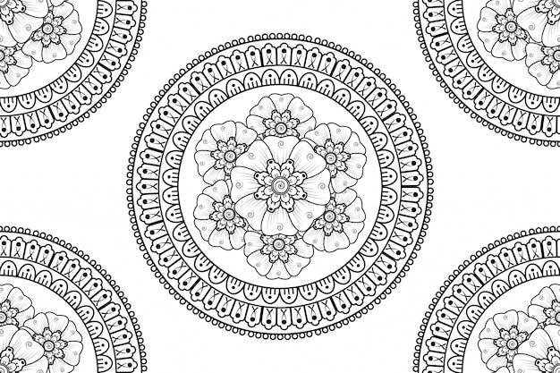 Круглый узор в виде мандалы для хны, менди, тату, украшения.