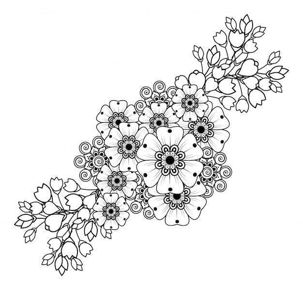 Менди цветок для рисования хной и татуировки. оформление в этническом восточном, индийском стиле.
