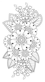 Менди цветочный узор для рисования хной и тату. оформление в этническом восточном, индийском стиле.