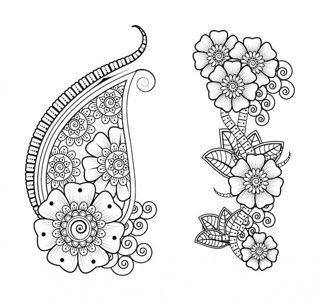 Набор цветов менди для хны рисунка и татуировки. оформление в восточном, индийском стиле.