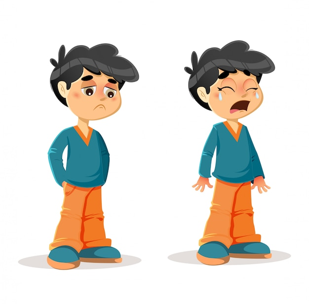 悲しい泣き叫ぶ少年の表現