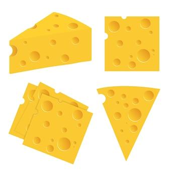 白で隔離されるチーズイラストセット