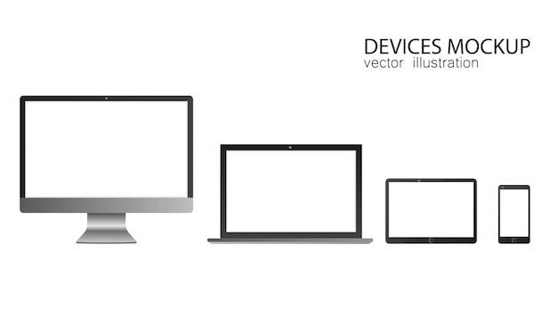 モニター、タブレット、ラップトップ、スマートフォンのセット。現実的なデザインのイラスト。