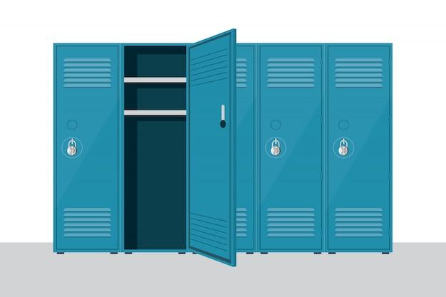 白で隔離される金属の学校のロッカーイラスト
