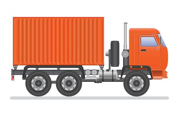 Реалистичная оранжевая иллюстрация грузовика