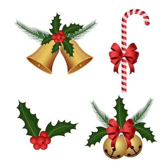 Рождественские украшения набор иллюстрации на белом
