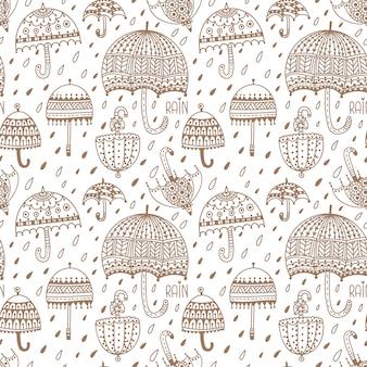 かわいい傘。シームレスなベクターパターン。手で書いた。ぬりえページ。子供のための大人