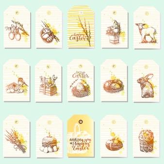 Большой набор счастливых пасхальных ярлыков с традиционными пасхальными вещами