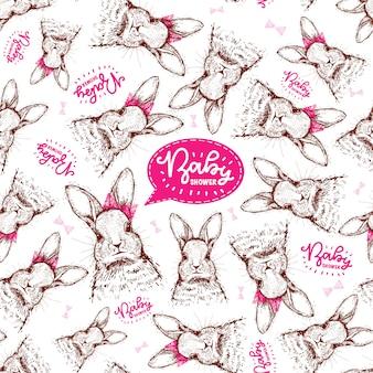 女の赤ちゃんの誕生日のための手描きのウサギとパターン