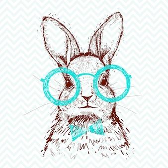 流行に敏感なスタイリッシュなウサギ。ポスターのための手描きのスケッチ