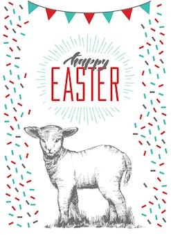 かわいい子羊とレタリングの手で描かれたイースターのグリーティングカードを手します。