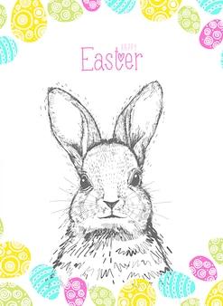 Рисованной пасхальные открытки с надписью рукой с милой зайца