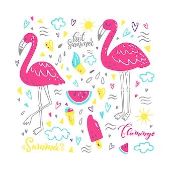 かわいい夏のフラミンゴ、スイカ、アイスクリームのセット