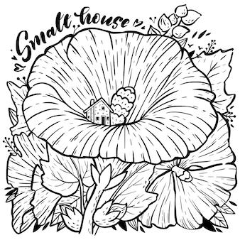 Раскраска с мальвой, листьями и домиком. красивой рисованной иллюстрации для книги антистресс.