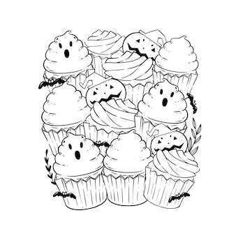 塗り絵のハロウィーンのカップケーキと四角形のパターン。