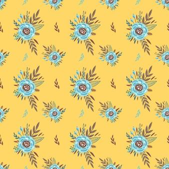 小さな花のかわいいパターン。小さなカラフルな花。黄色の背景。頭が変な花の背景。ファッションプリントのエレガントなテンプレート
