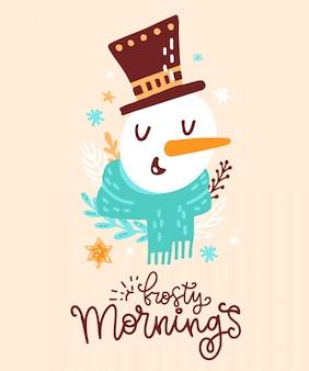 Рождественская открытка с милым животным. милый портрет снеговика с шарфом, шляпой рождества, флористическими элементами, снежинками. поздравительная открытка