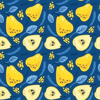 Узор с желтыми грушами с листьями на классическом синем фоне