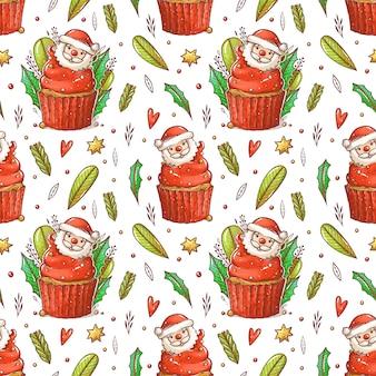 漫画サンタとクリスマスケーキのパターン。赤いクリームとかわいいカップケーキ。葉、枝、ビーズのカップケーキ