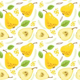葉と甘い黄色の洋ナシのパターン。有機健康的な果物の背景。手描きの背景。漫画イラスト。包装紙、壁紙、背景、布プリントに最適です。