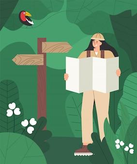Женщина походы, держа в руках карту, возле указателя. дикие джунгли, зеленые листья, флора и фауна.