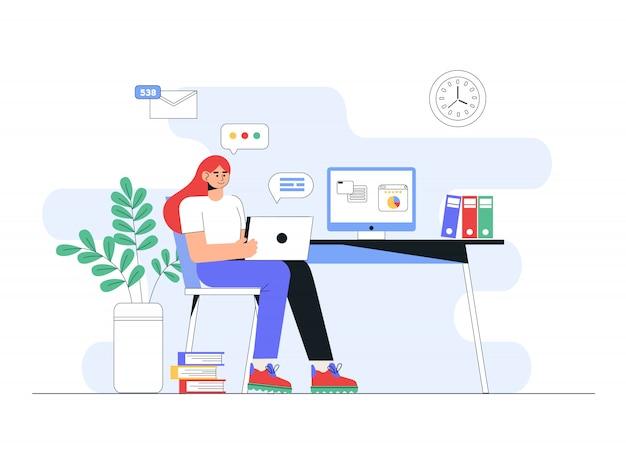 Внештатный, онлайн-образование или концепция социальных медиа. концепция домашнего офиса, женщина, работающая из дома с ноутбуком.