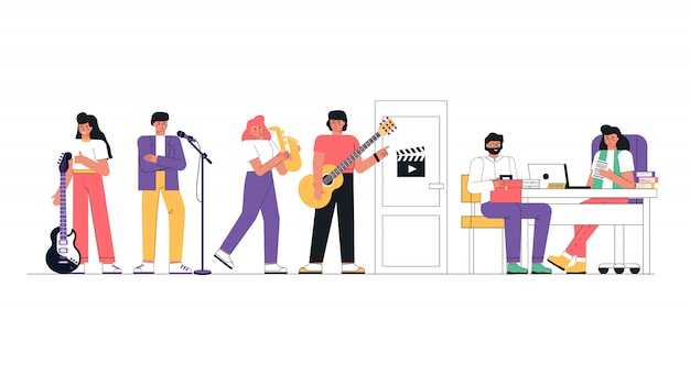 仕事のために音楽グループや創造的な人々をキャストする。