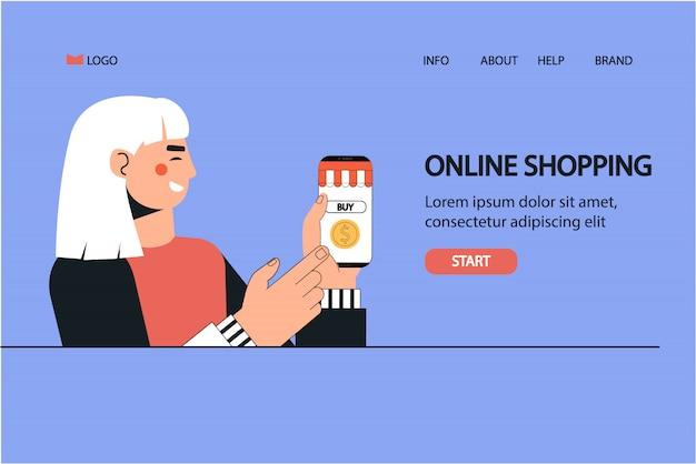 Женщина держит смартфон для оплаты веб-шаблона заказа