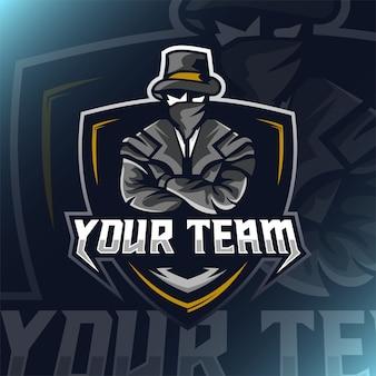 Мафия талисман логотип киберспорт игры. бандит талисман логотип иллюстрации.