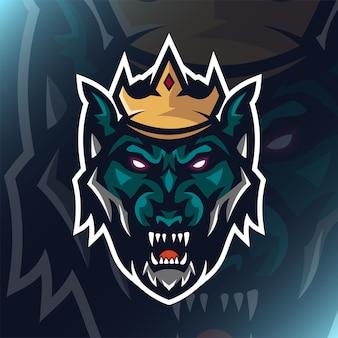 チームテンプレートのクラウンロゴマスコットイラストと緑のオオカミ