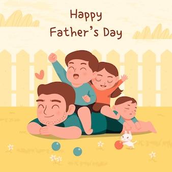 幸せな父の日のグリーティングカード。お父さんと息子と娘が一緒に遊ぶ。